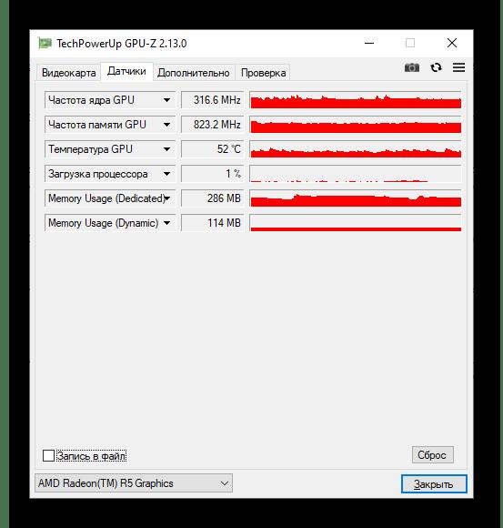 Показатели датчиков в GPU-Z
