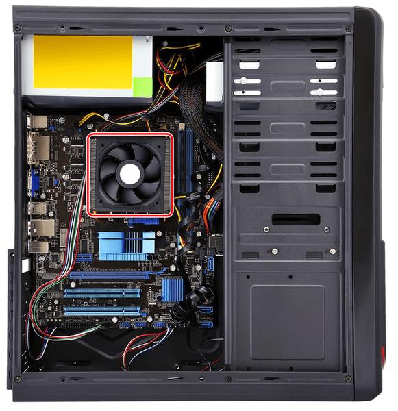 Примерное расположение процессора в ПК