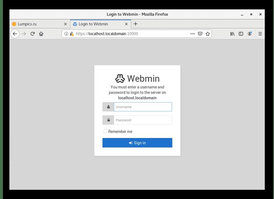 Пробная авторизация в Webmin в CentOS 7 после инсталляции