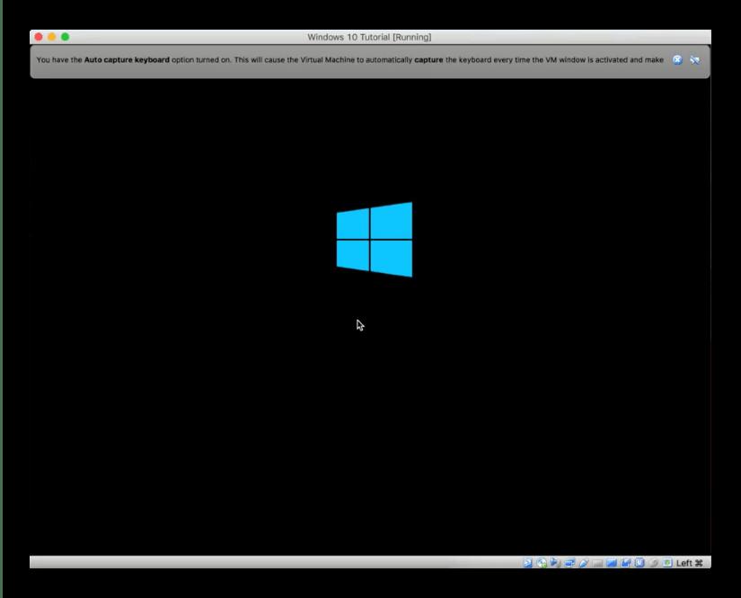 Процесс инсталляции Windows 10 для установки на macOS через VirtualBox