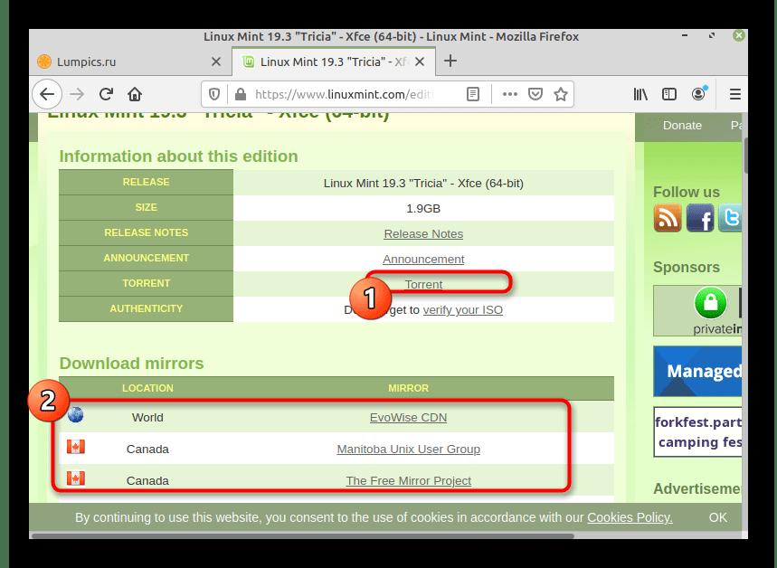 Скачивание версии дистрибутива с официального сайта для Linux Mint рядом с Linux Mint