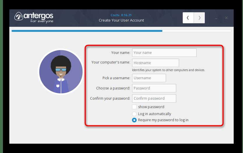 Создание нового пользователя перед установкой Antergos