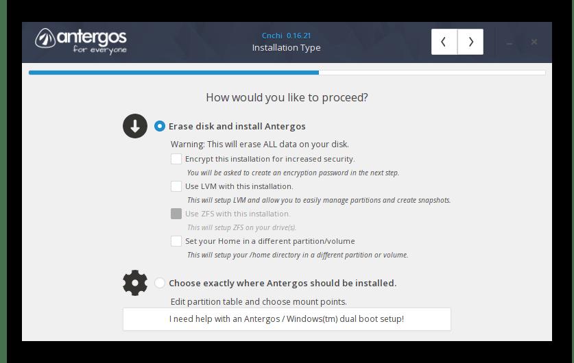 Создание разделов для установки операционной системы Antergos