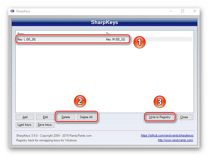 Удаление переназначенных клавиш в программе SharpKeys на Windows 10