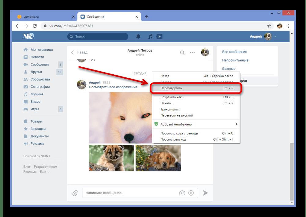 Успешное удаление фото в диалоге на сайте ВКонтакте