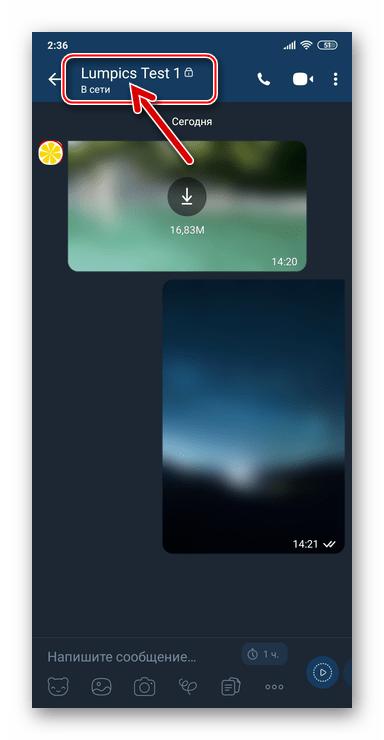 Viber для Android - переход в настройки секретного чата тапом по его заголовку (имени собеседника)