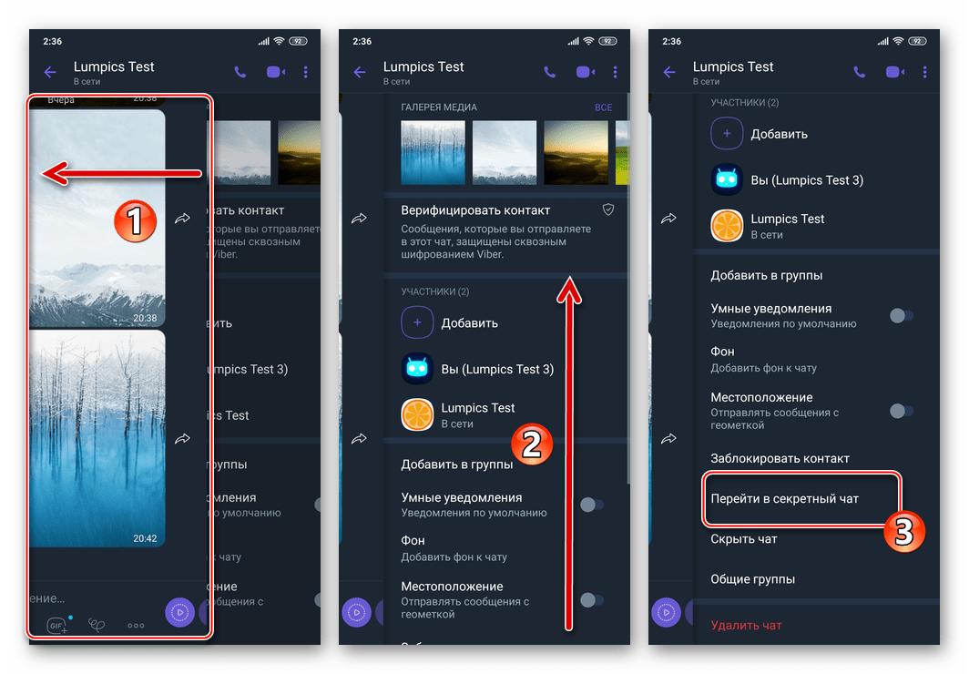 Viber для Android пункт Перейти в секретный чат на экране Информация беседы