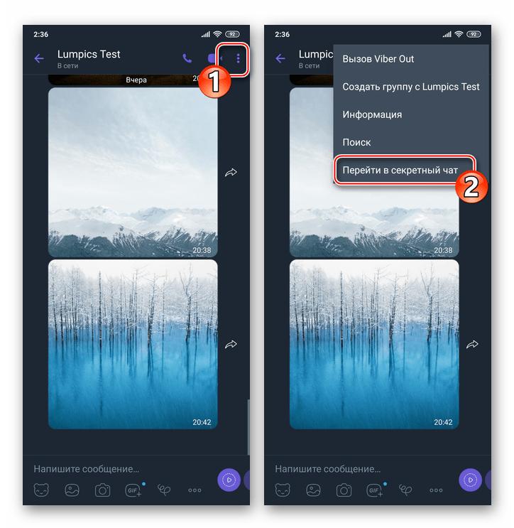 Viber для Android пункт Перейти в секретный чат в меню диалога