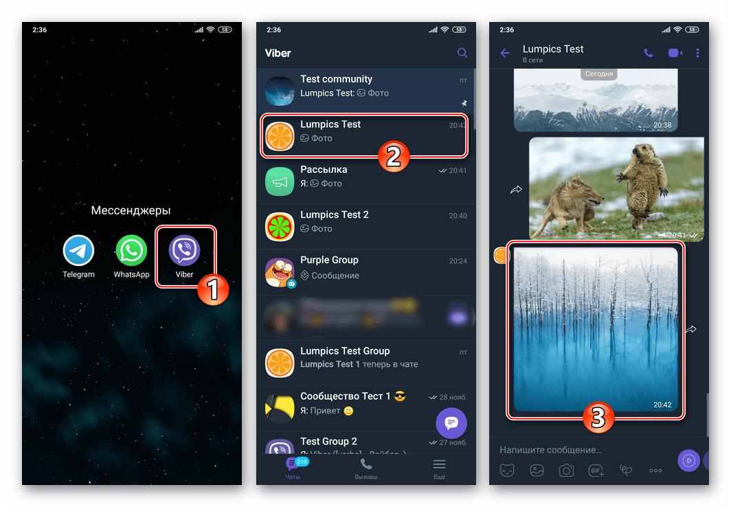 Viber для Android запуск мессенджера, переход в чат, попытка открыть фото