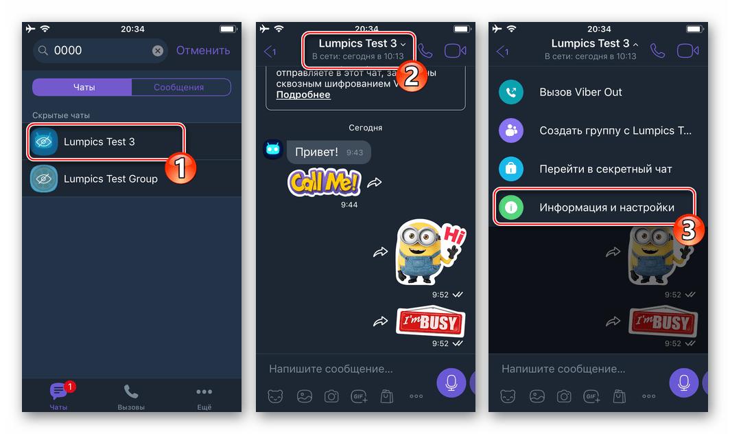 Viber для iOS переход в скрытый чат, вызов панели Информация и настройки