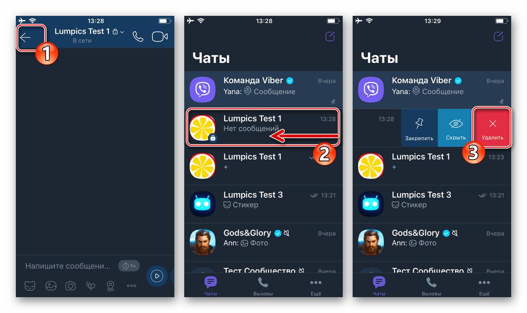 Viber для iOS выход из секретного чата и его удаление