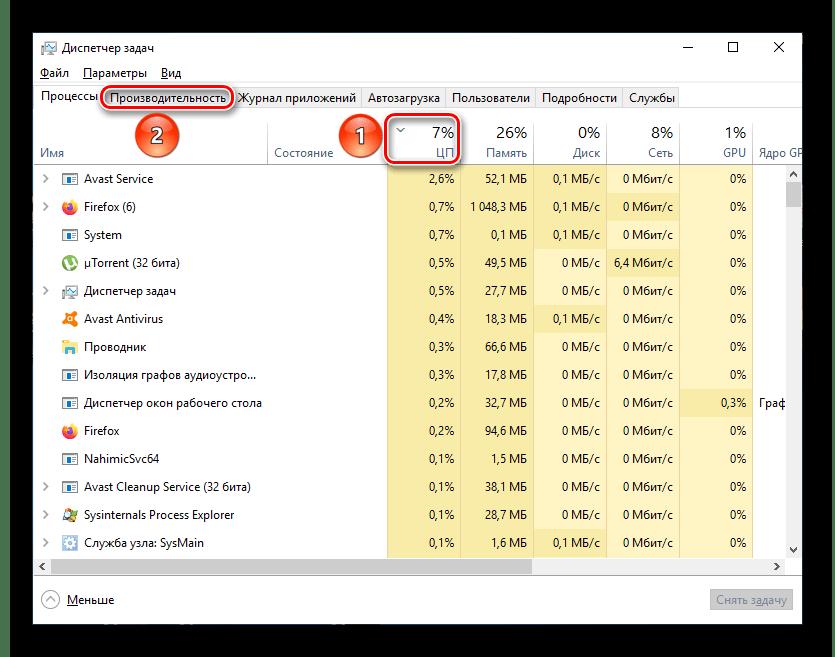 Вкладка Процессы Диспетчера задач Windows