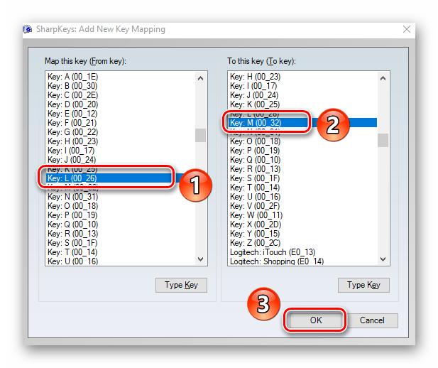 Выбор клавиш для переназначения в программе SharpKeys на Windows 10