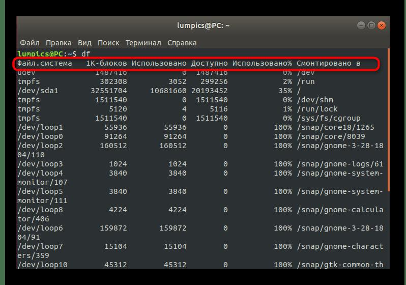 Вывод информации команды df в Linux без применения дополнительных опций