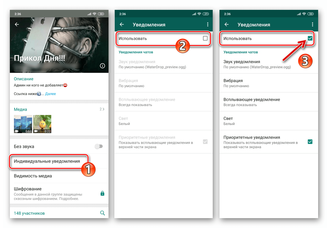 WhatsApp для Android активация опции Индивидуальные уведомления в групповом чате