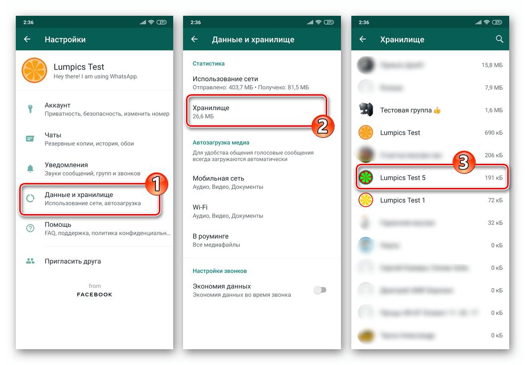 WhatsApp для Android Настройки - Данные и хранилище - Хранилище - чат из которого получены фотографии, сохраненные в памяти