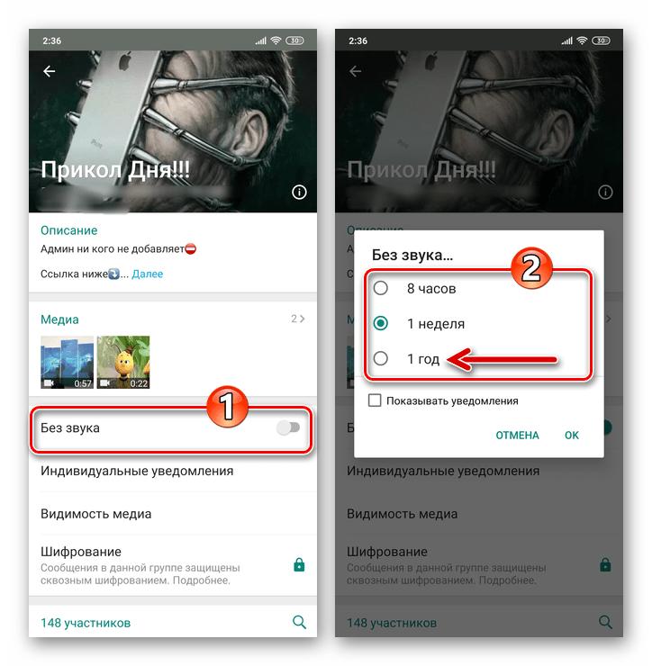 WhatsApp для Android включение режима Без звука для группы в мессенджере, выбор периода