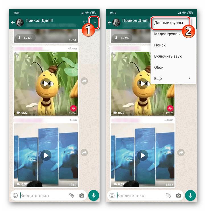 WhatsApp для Android вызов меню группового чата, пункт Данные группы