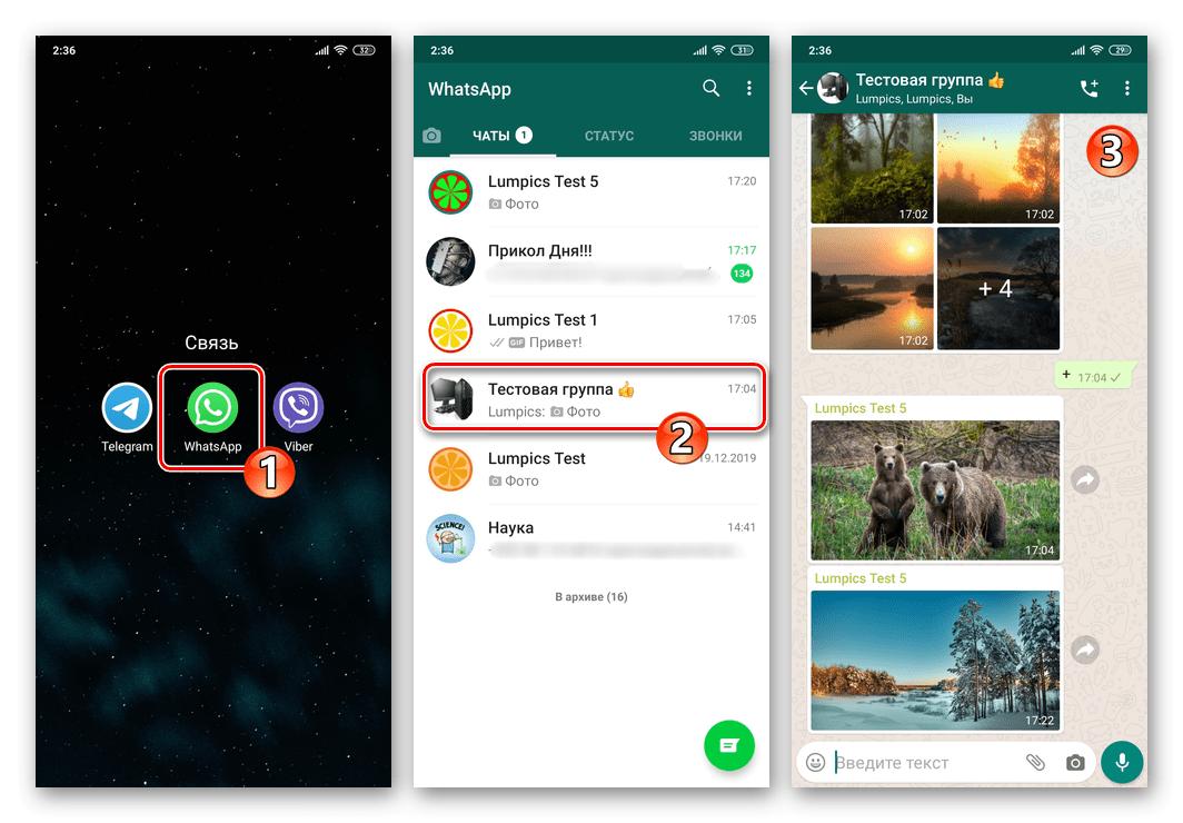 WhatsApp для Android - запус мессенджера, переход в чат для отключения видимости медиа в Галерее ОС