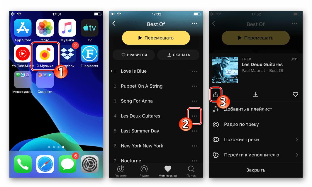 WhatsApp для iOS - кнопка Поделиться в программе Яндекс.Музыка, позволяющая передать песню через мессенджер