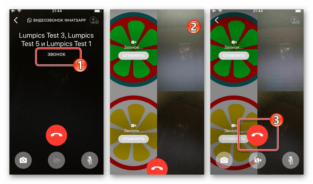 WhatsApp для iOS процесс видеообщения в группе пользователей через мессенджер