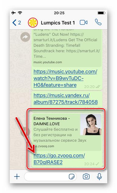 WhatsApp для iOS ссылка на аудиозапись из стримингового сервиса отправлена собеседнику в мессенджере