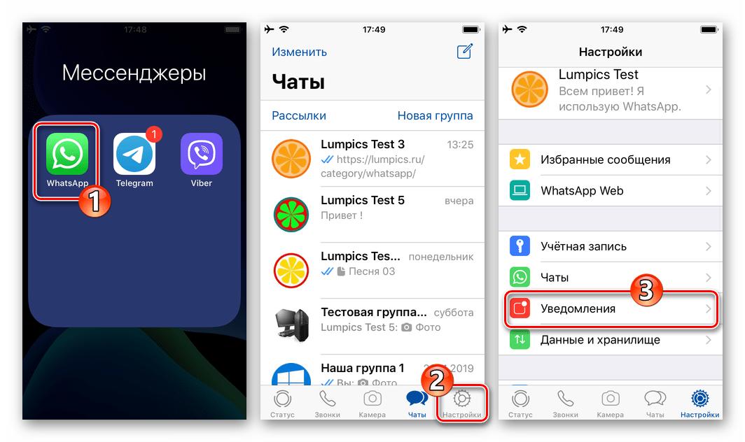 WhatsApp для iOS - запуск мессенджера, переход в Настройки - раздел Уведомления