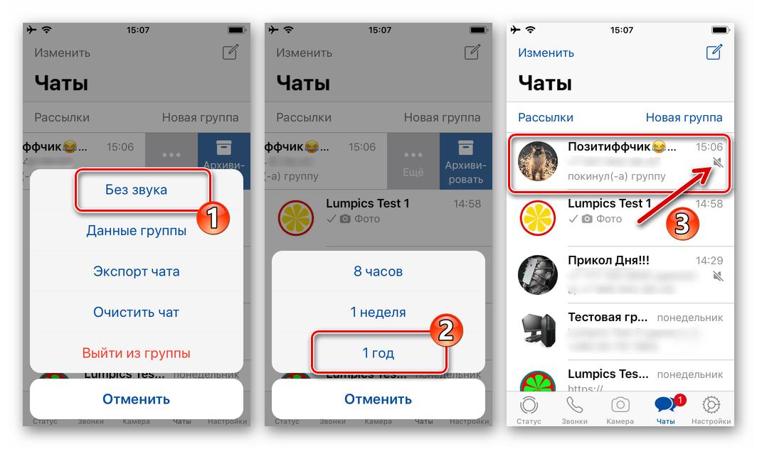 WhatsApp для iPhone - быстрое отключение всех уведомлений, поступающих из отдельного группового чата