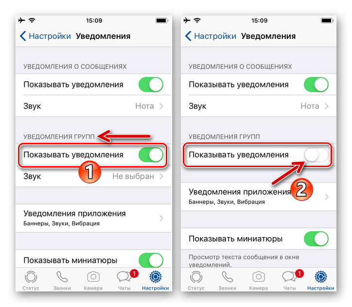 WhatsApp для iPhone - Деактивация пункта Показывать уведомления для групповых чатов в Настройках мессенджера