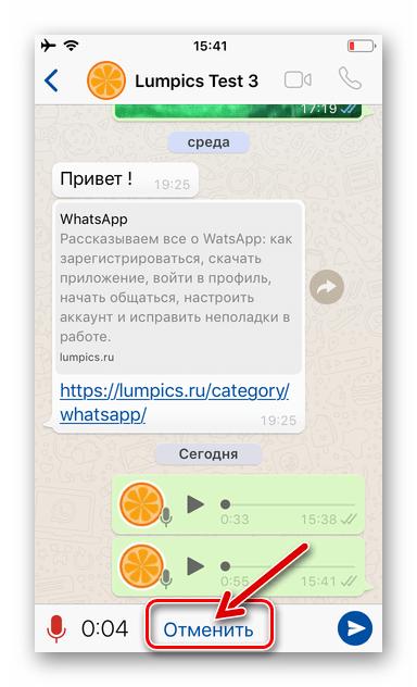 WhatsApp для iPhone - отмена записи голосового сообщения и его удаление без отправки через мессенджер