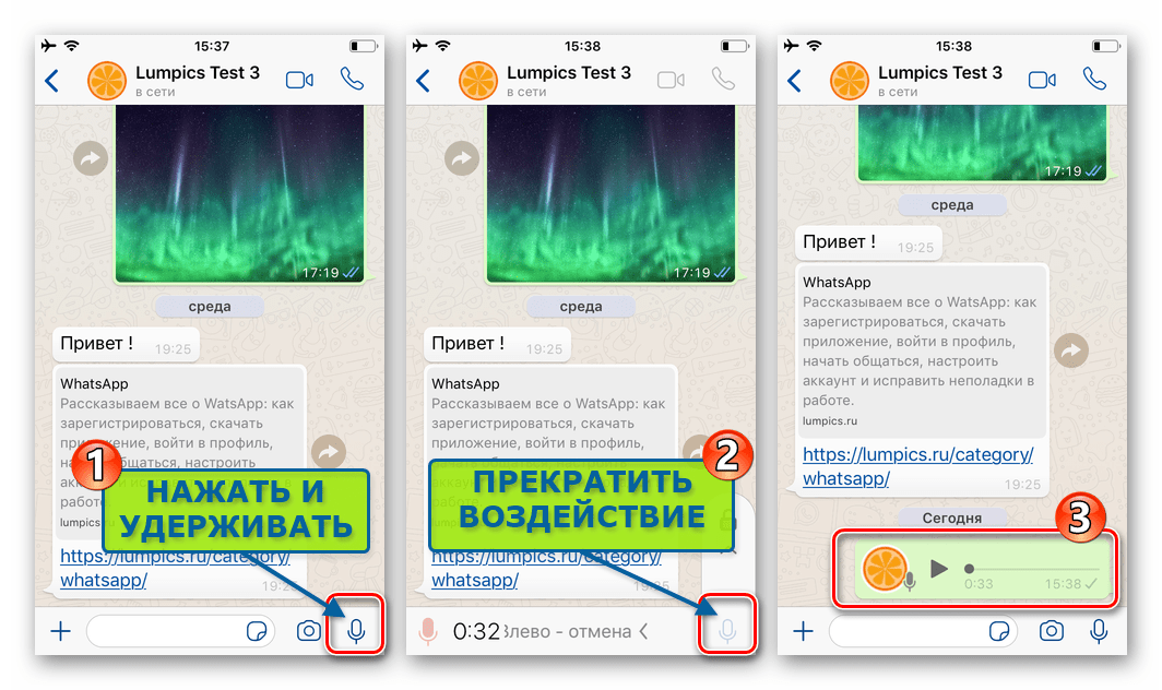 WhatsApp для iPhone - запись и отправка голосового сообщения собеседнику