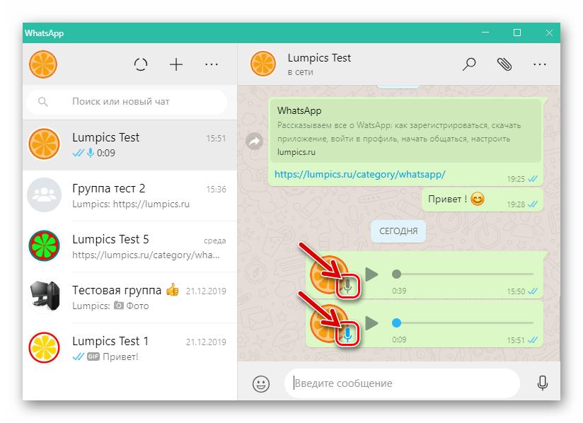WhatsApp для Windows цвета статуса отправленного голосового сообщения