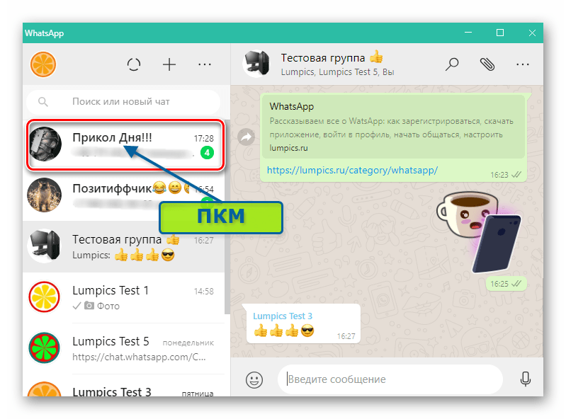 WhatsApp для Windows вызов меню группового чата из списка открытых бесед