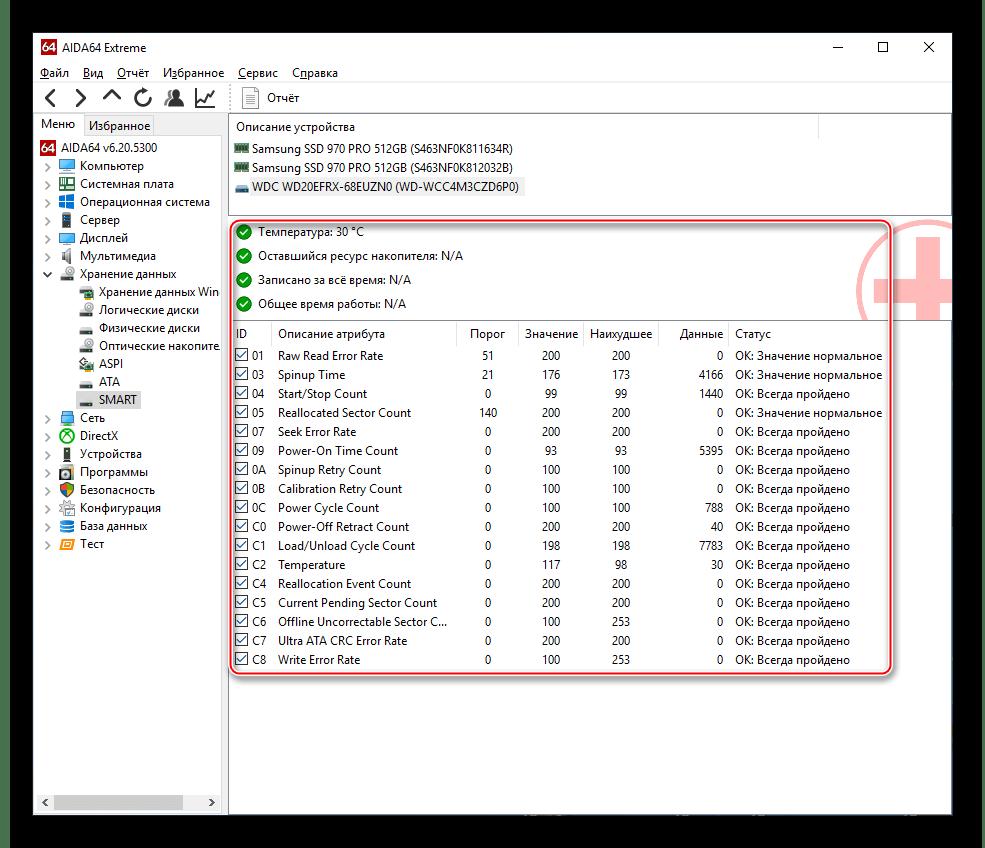 Данные S.M.A.R.T. для жёсткого диска в AIDA64