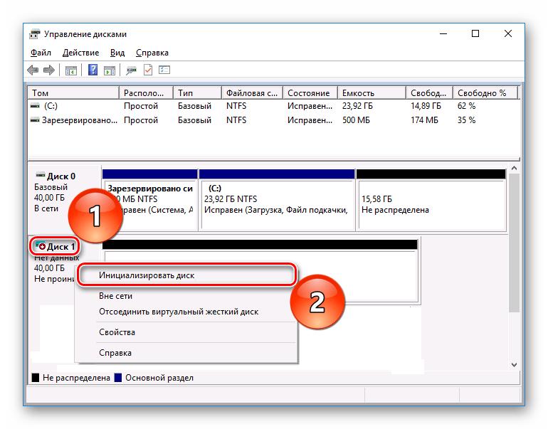 Инициализация диска в панели управления Управление дисками в Windows