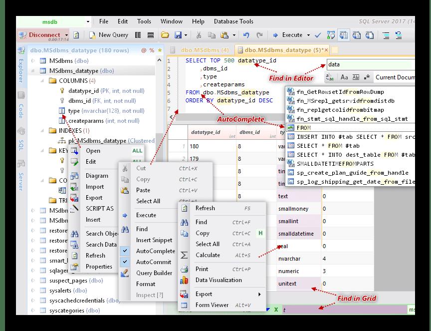 Интерфейс программы Database NET
