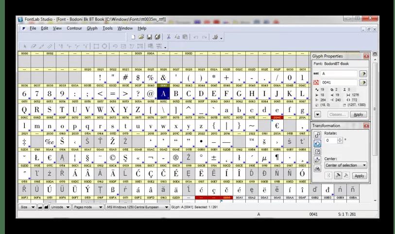 Интерфейс программы FontLab Studio