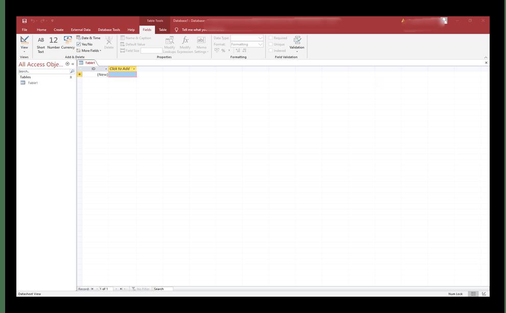 Интерфейс программы Microsoft Access