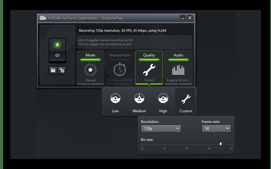 Интерфейс программы NVIDIA GeForce Experience ShadowPlay