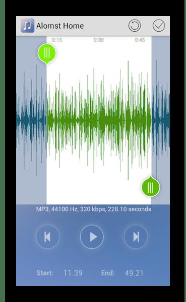 Интерфейс программы RingDroid на Android