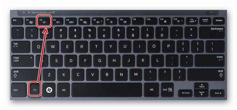 Использование горячих клавиш на ноутбуке для уменьшения яркости экрана монитора