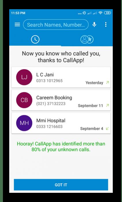 Использование приложения CallApp для определения номера телефона