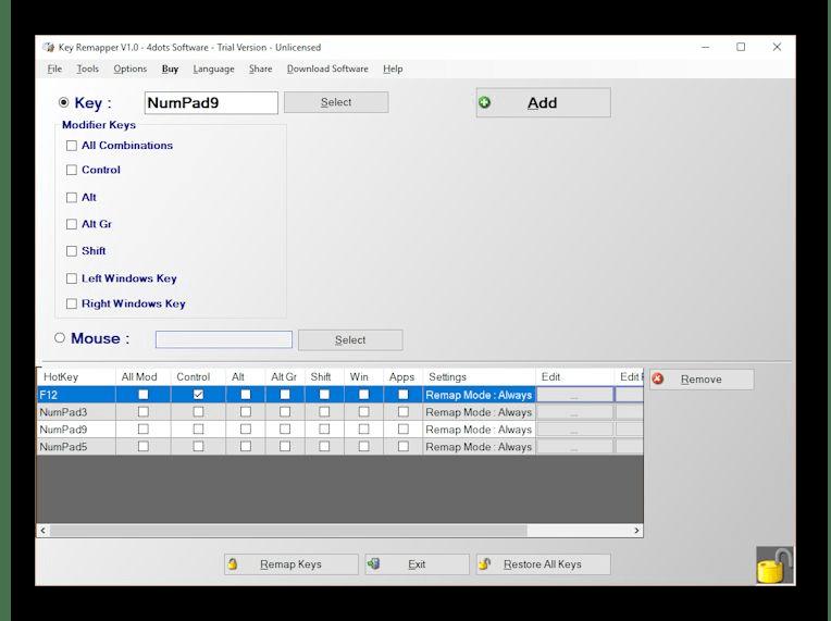 Использование программы Key Remapper для переназначения клавиш на клавиатуре