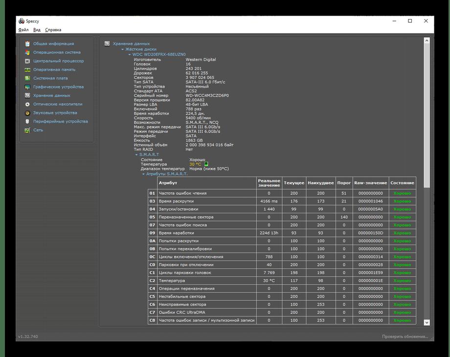 Категория Хранение данных и просмотр данных жёсткого диска в Speccy
