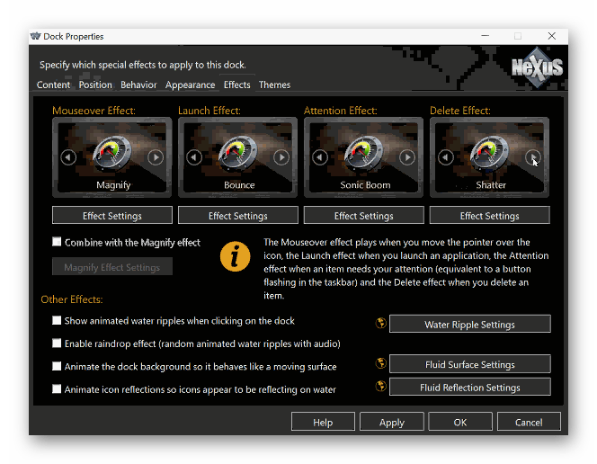 Настройки Winstep Nexus Dock