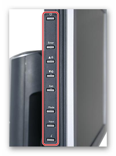 Открытие меню с параметрами на внешнем мониторе с помощью кнопок