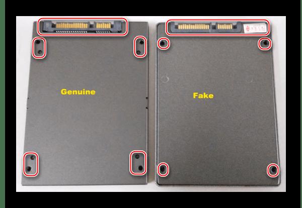 Отличная поверхность самого устройства, где у оригинала есть два ряда гнёзд в SSD Kingston