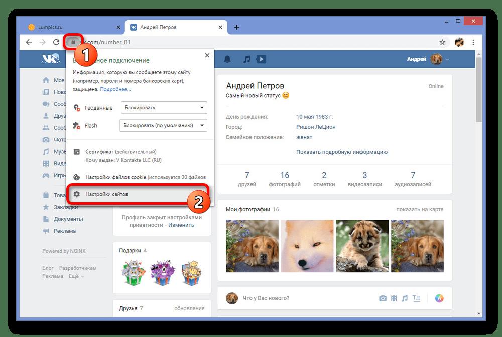 Переход к настройкам сайтов в браузере