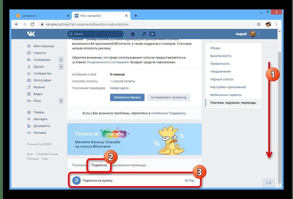 Переход к управлению подпиской на сайте ВКонтакте