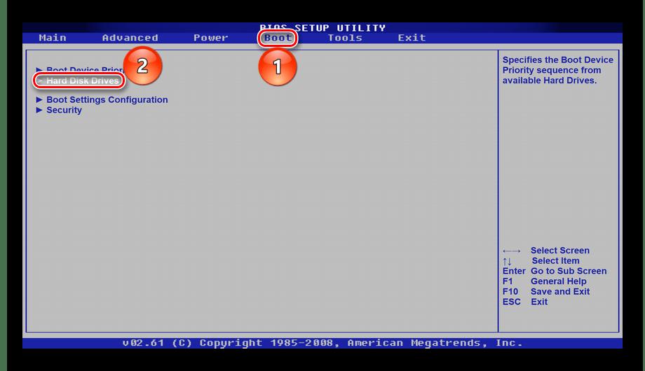 Переход на вкладку Boot и выбор подкатегории Hard Disk Drivers в BIOS